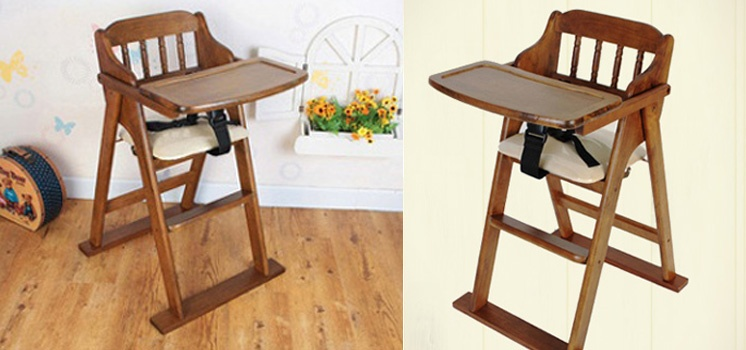 Foldable Baby High Chair made of Eco Wood from Korea