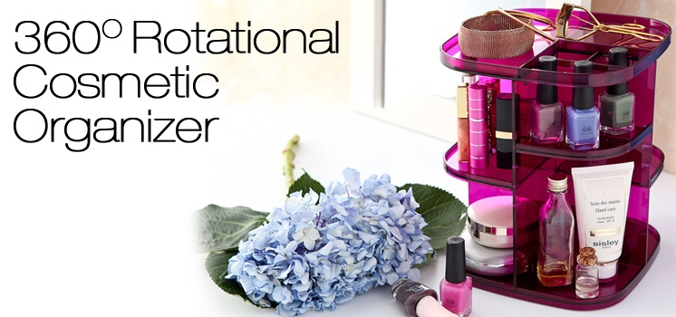 Rotational Cosmetic Organizer (Pearl Violet)
